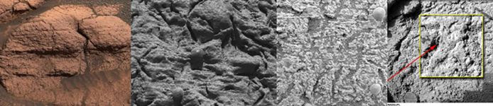 Different photos of the Opportunity landing site showing signs of past water activity