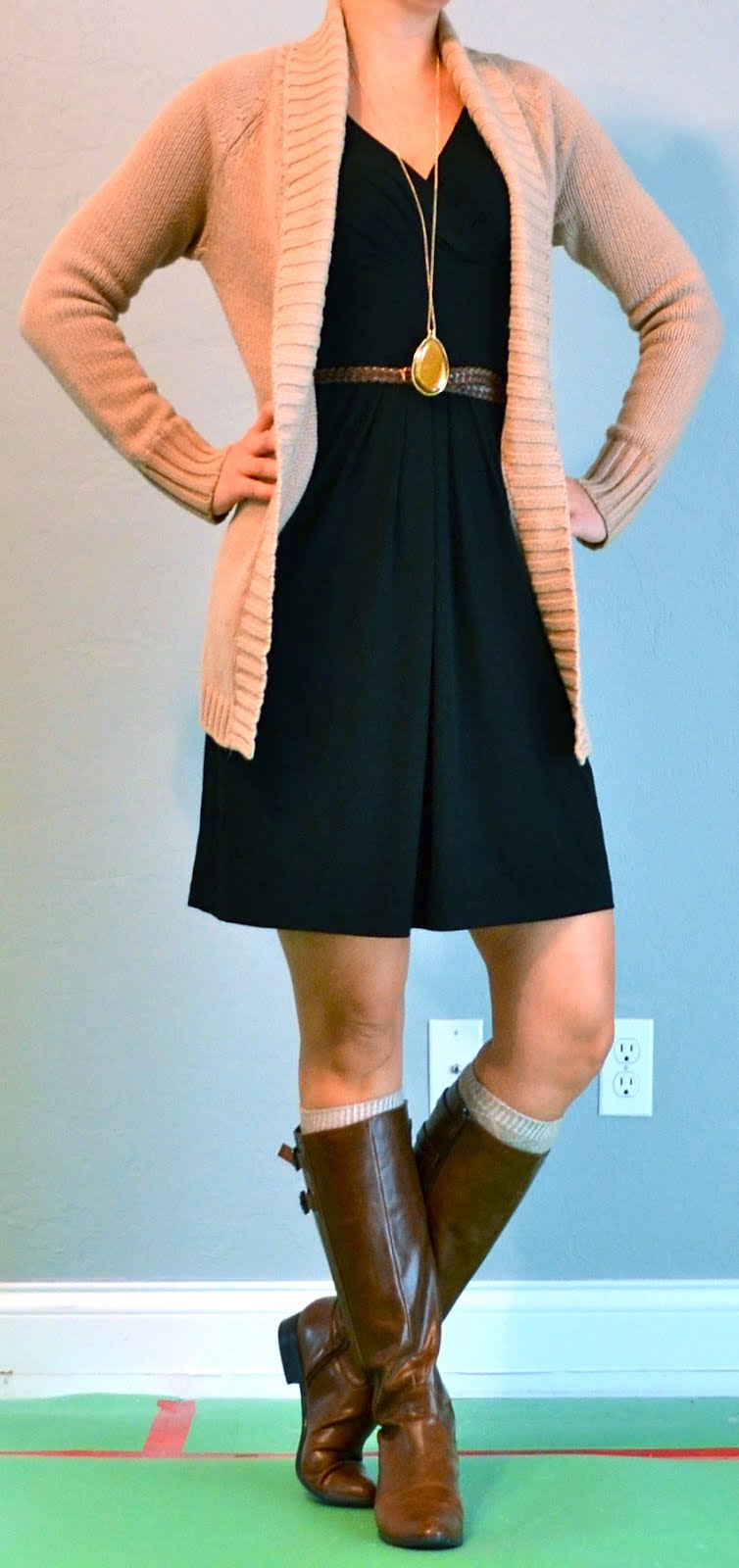 outfit post black dress knit cardigan boots