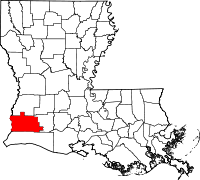 Map of Louisiana highlighting Calcasieu Parish