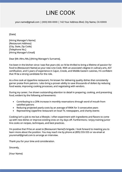 example of cover letter for kitchen assistant