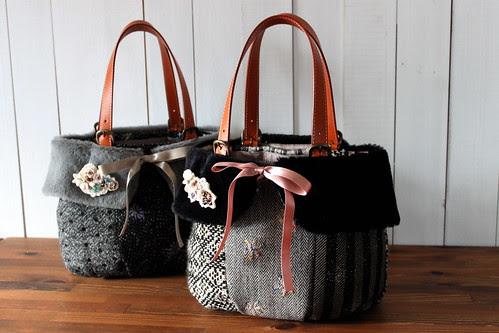 tweed bag_black gray & black black