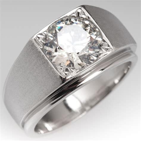 bold vintage mens  carat diamond ring platinum