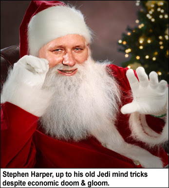 Stephen Harper as Santa Claus, still  trying to wield the Jedi Mind trick.