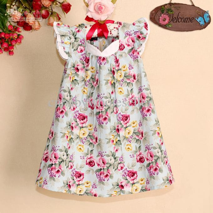 2017 unique girl dresses little flower cotton princess