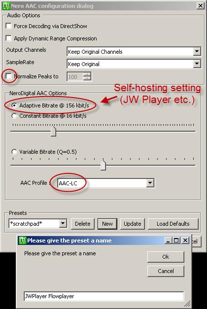 MeGUI Nero AAC settings for self-hosting