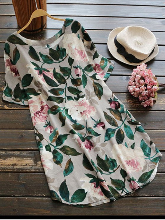 fancy Casual Floral A-Line Dress - GREEN XL