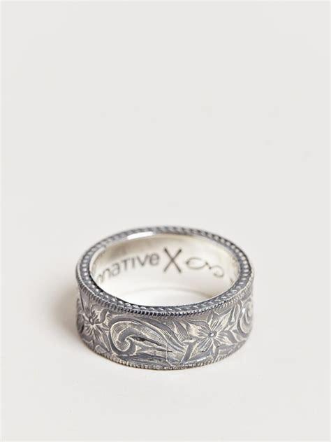 lyst nonnative mens western flower ring  metallic  men