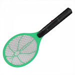 Electric Battery Power Fly Mosquito Swatter Bug Zapper Racket - Green