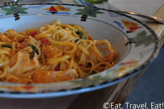 Sesame Grill: Salmon and Shrimp Linguini in Red Pepper Cream Sauce 1