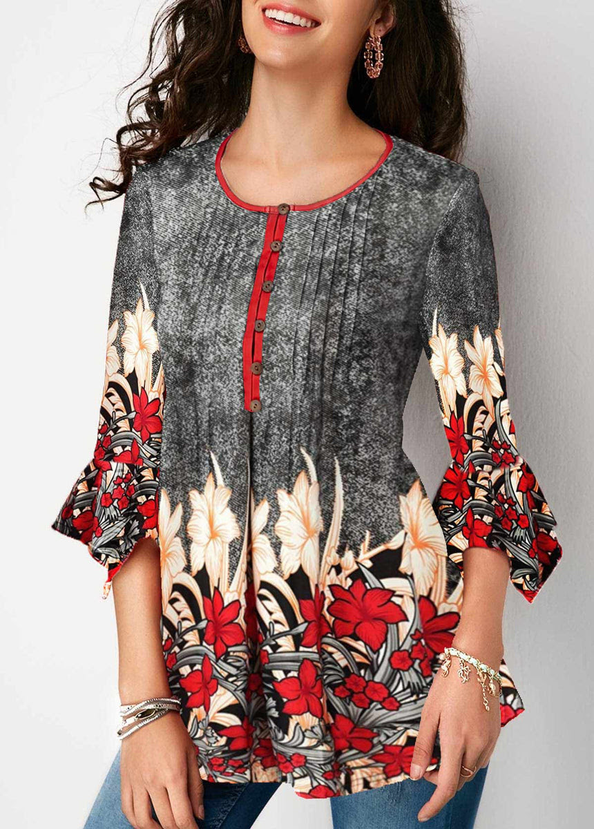 Clothing printed button up pleated three quarter sleeve blouse online