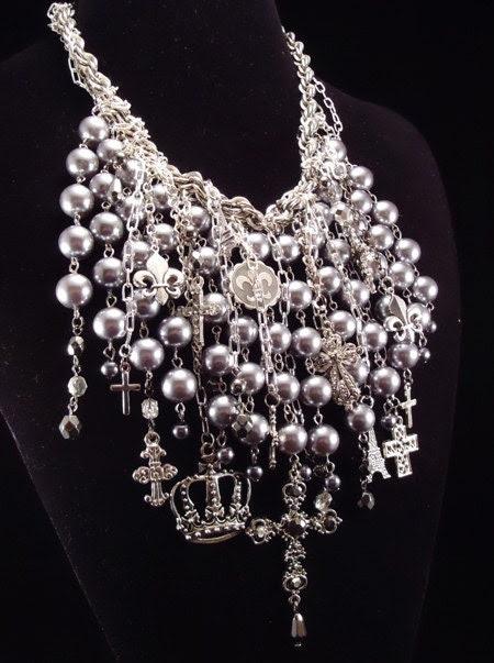 RESERVED - Fleur-De-Lis Blessings - Bib Necklace - Vintage-Heaven