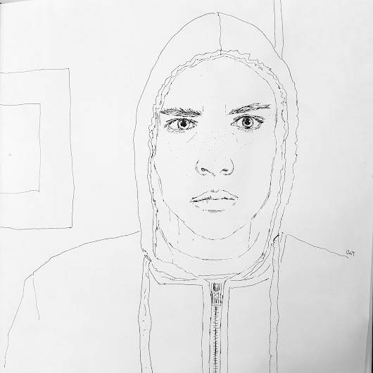 Yellow Hoody – Work in progress line drawing from #RedditGetsDrawn