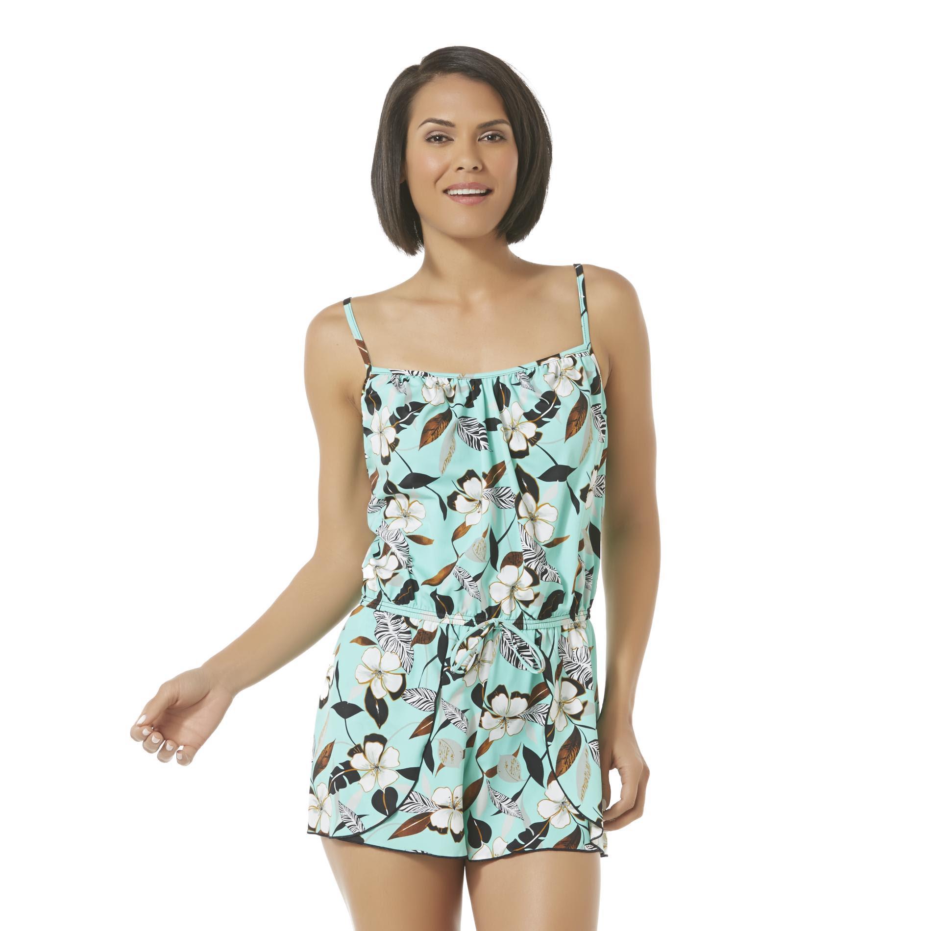 a shore fit women's romper swimsuit  floral