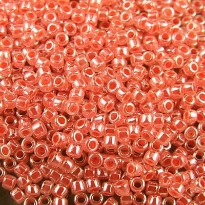 db0235 Delicas - 11/0 Japanese Cylinders - Crystal Lined Salmon Lustre (7.5 g)