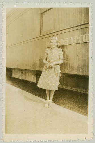 woman and rail car