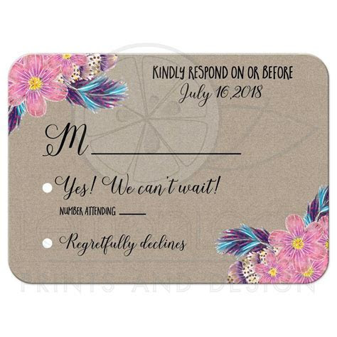 Boho Feathers Watercolor Floral Wedding RSVP enclosure cards