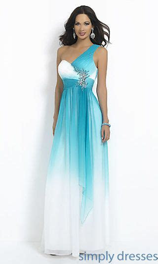 One Shoulder Ombre Prom Dress by Blush at SimplyDresses