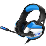 ONIKUMA K5 Stereo Gaming Headset Over Ear Headphones with Mic for PS4, PC, Xbox One Controller LED Light Bass Surround Blue