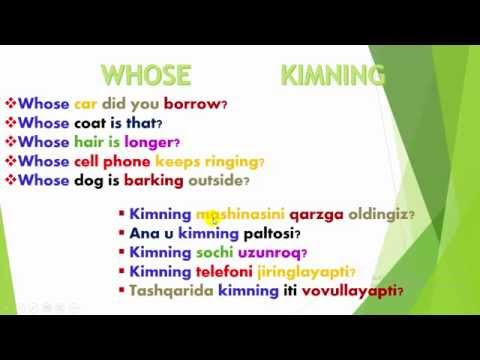 Learn Uzbek Language - Question sentences WHOSE (So'roq gaplar Kimning) [video]