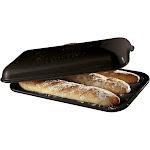 Emile Henry Charcoal Ceramic Baguette Pan W/ Lid - 3 Loaf - 795506
