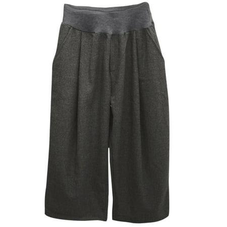Women's Elastic Waist Loose Fit Wide Leg Pockets Leisure Cropped Pants Gray (Size M \/ 8)
