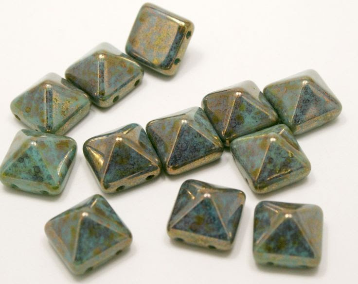 Czech two hole Pyramid Beadstuds in newly released colors