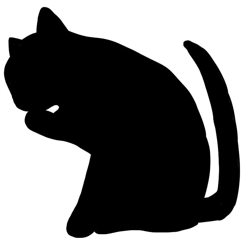 この仕草に一目ぼれ顔を洗う猫のシルエット画像 Nyan3
