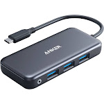 Anker USB C Hub, 5-in-1 USB C Adapter, with SD/TF Card Reader, 3 USB 3.0 Ports, for MacBook Pro 2018/2017/2016, Chromebook, XPS, and More