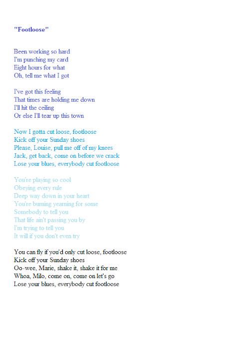 Cut Loose Footloose Kick Off Your Sunday Shoes Lyrics