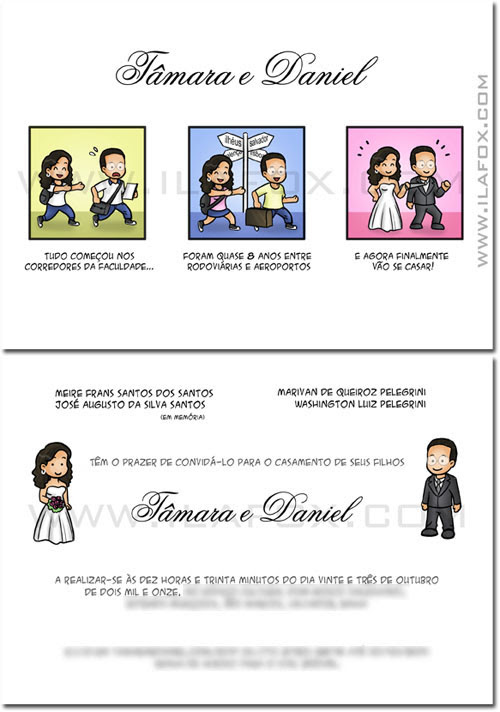 Convite personalizados, história dos noivos, convite original para casamento, by ila fox