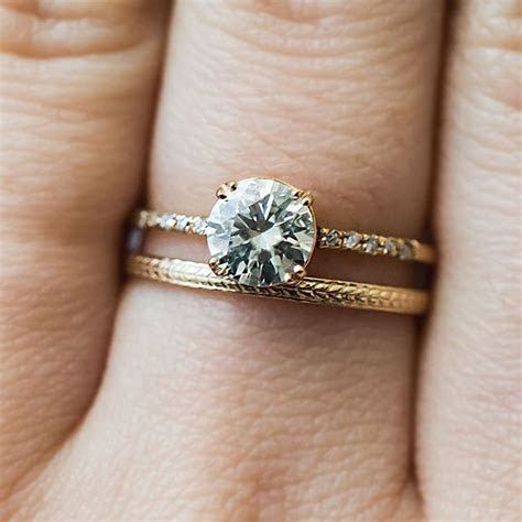 For a unique wedding band look, pair your engagement ring