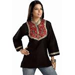 Indian Selections - Black Art silk beaded patchwork Kurti - Large