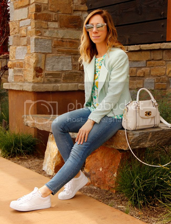 Fashion blogger The Key To Chic wears an Elle lemon print blouse, Old Navy Rockstar jeans, tweed blazer, and Adidas Superstar 2 sneakers