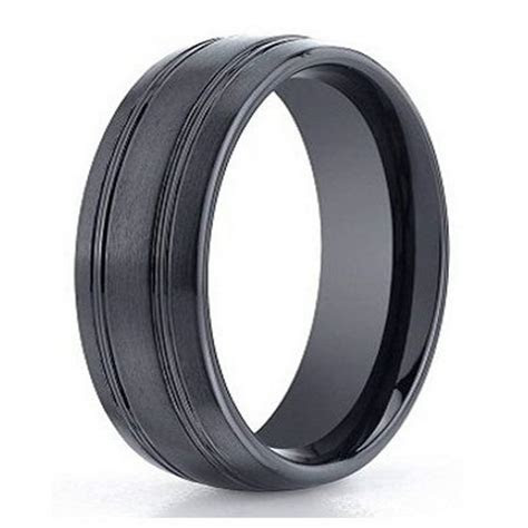 Designer Seranite Men's Wedding Ring, Black Ceramic Band, 7mm