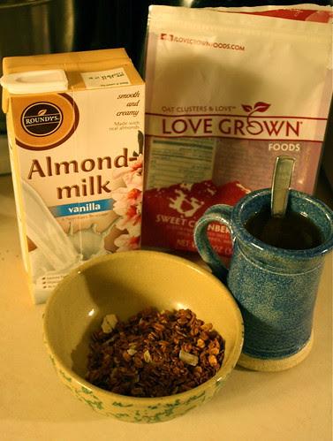 almond milk, granola, Love Grown bag, coffee