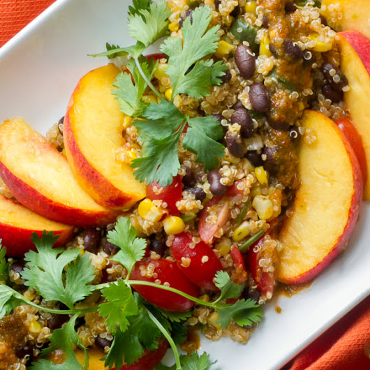 Quinoa Salad with Black Beans Corn and Peaches - I'm Bored, Let's Go...