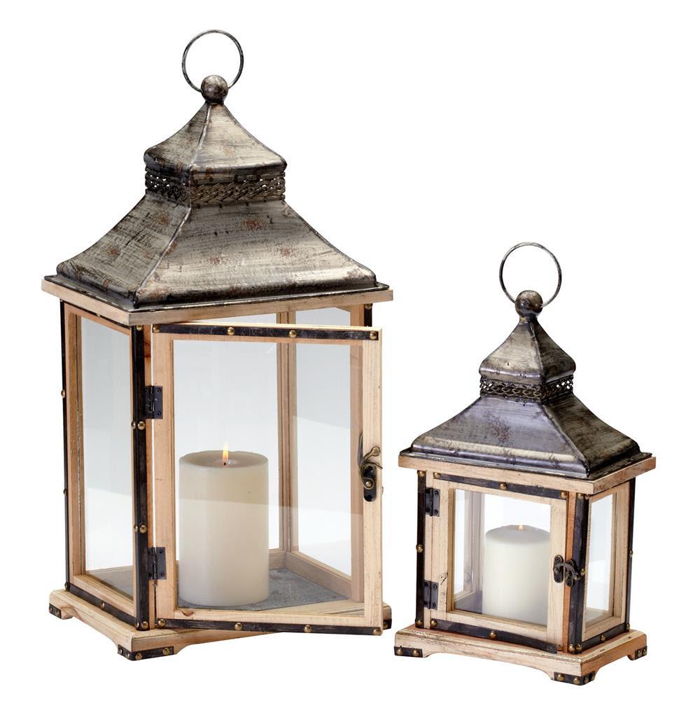 Oxford Rustic Lodge Iron Wood Candle Lanterns- Set of 2 ...