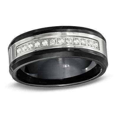 Men's 8.0mm 1/8 CT. T.W. Diamond Wedding Band in Stainless