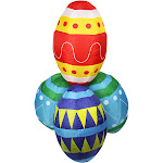 4' Red and Blue Inflatable Lighted Easter Eggs Stacks Outdoor Decoration by Christmas Central