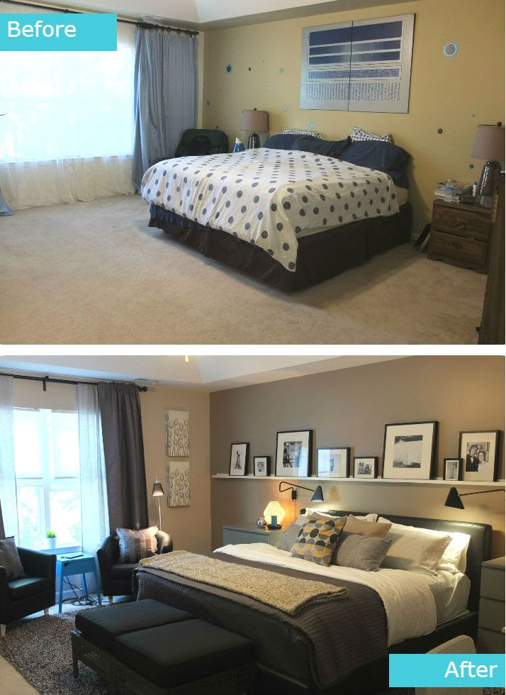 The Pereira master bedroom was in need of an update. The space in their new home was larger, making their old furniture seem too small. They also wanted a space for reading and comfortable seating for family movie night!
