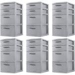 Sterilite 26226A02 Medium Weave 4 Drawer Organizer Storage Tower, Gray (6 Pack) at Spreetail (VMinnovations   VM Express)
