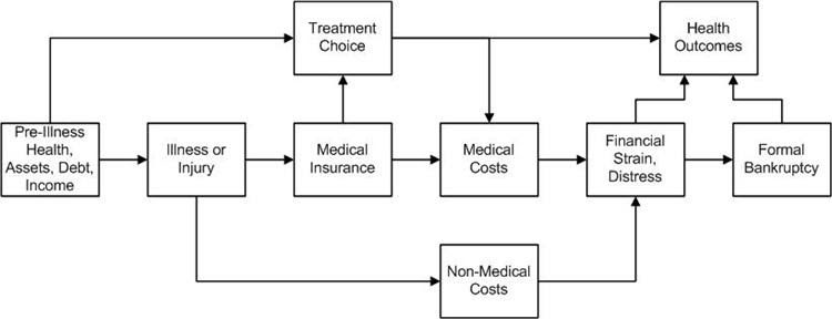 Flow chart showing the conceptual framework relating severe illness, treatment choice, and health and financial outcomes.