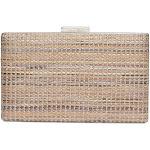 Calvin Klein Evening Brown Purse Novelty Woven Natural Straw Box Clutch Handbag