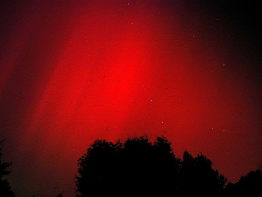 Recent solar activity has produced some spectacular aurora in areas not usually lucky enough to see them, like this dazzling red sky in Mt. Airy, Maryland. The composite image is made up of three separate eight-second exposures. Photo Credit: George Varros.
