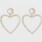 SUGARFIX by BaubleBar Pearl Studs Crystal Heart Hoop Earrings - Pearl, Women's, White
