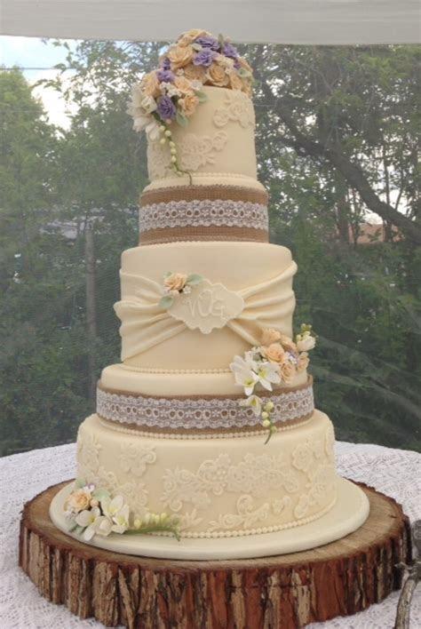 Vintage Rustic Wedding Cake   CakeCentral.com