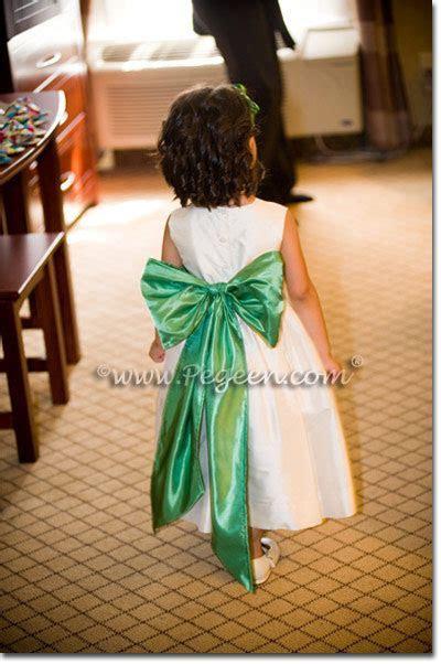 Clover Green and Bisque Flower Girl Dresses   Pegeen