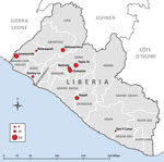 Thumbnail of Communities in remote rural areas where Ebola virus disease outbreaks occurred, Liberia, August–December 2014. Size of red dot indicates number of cases.