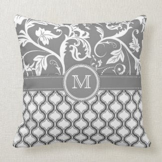 White And Gray Geometric Pattern And Floral Design Pillows