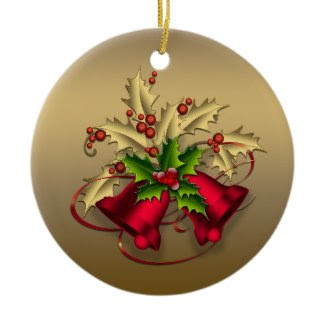 Gold Holly Red Bells Christmas Ornament